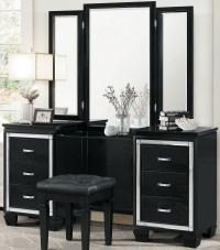 Allura Black Vanity with Mirror from Homelegance | Coleman ...