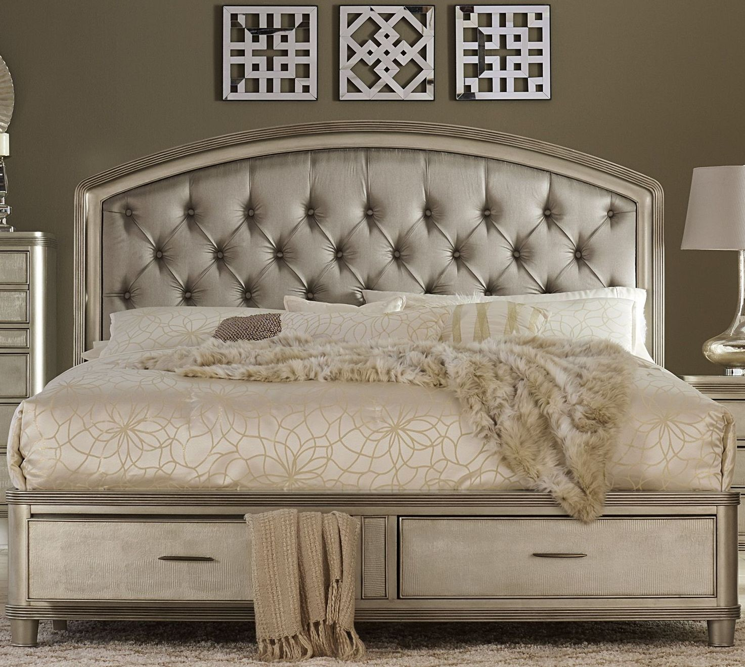 Tanchampagne Cal King Upholstered Platform Bed From