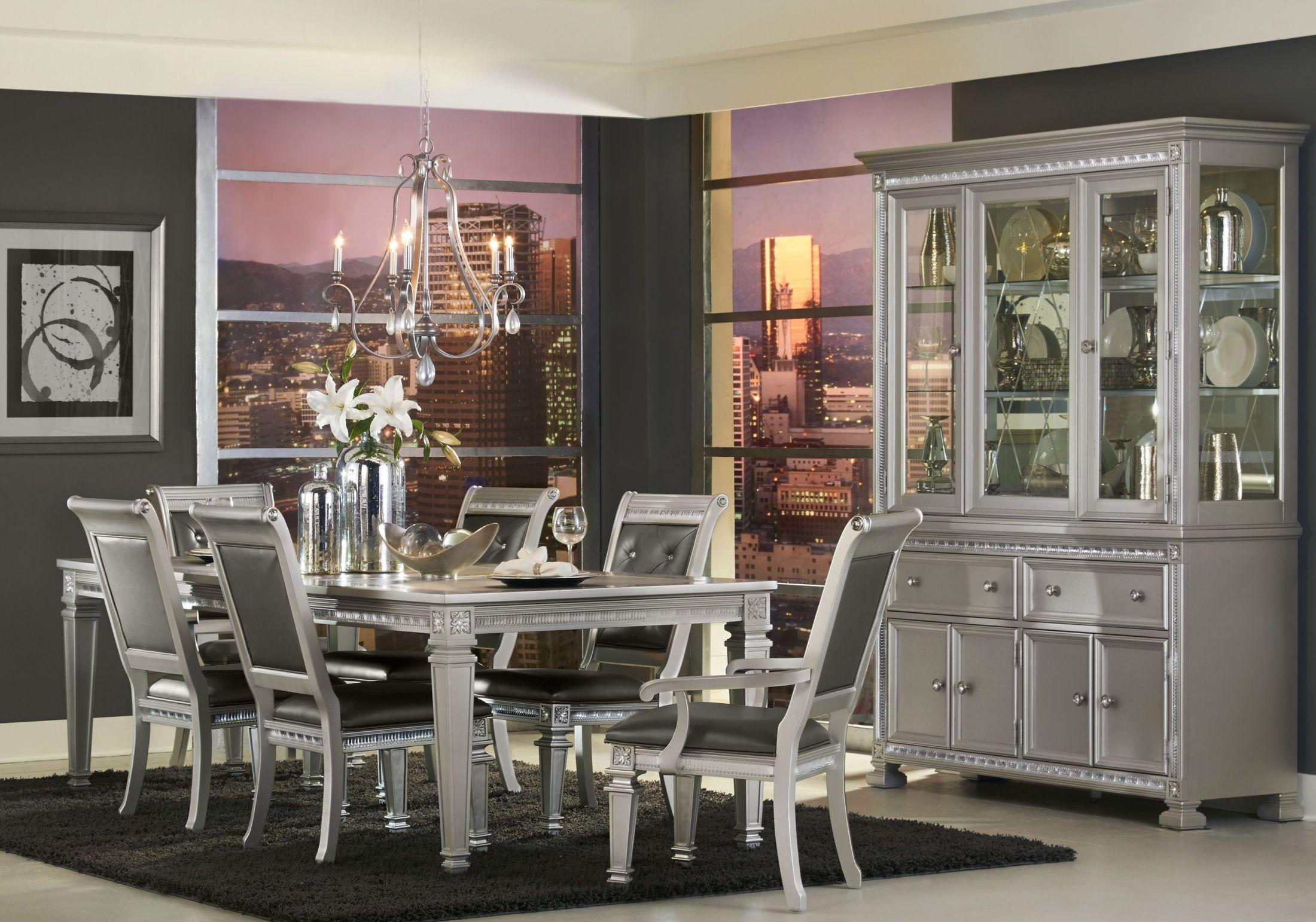Bevelle Silver Extendable Dining Room Set from Homelegance