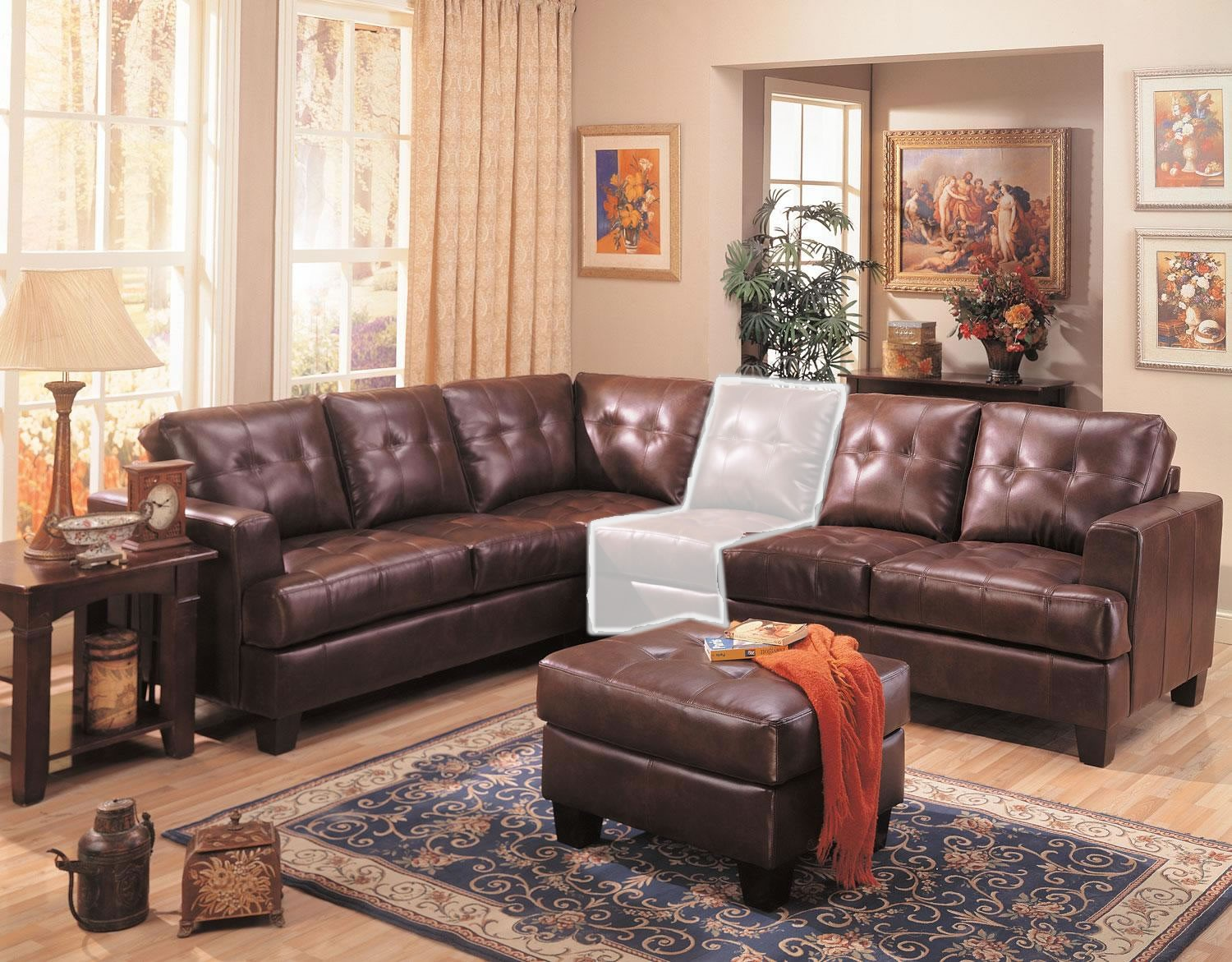 2 piece brown leather sofa mah jong modular preis samuel 3 sectional from coaster