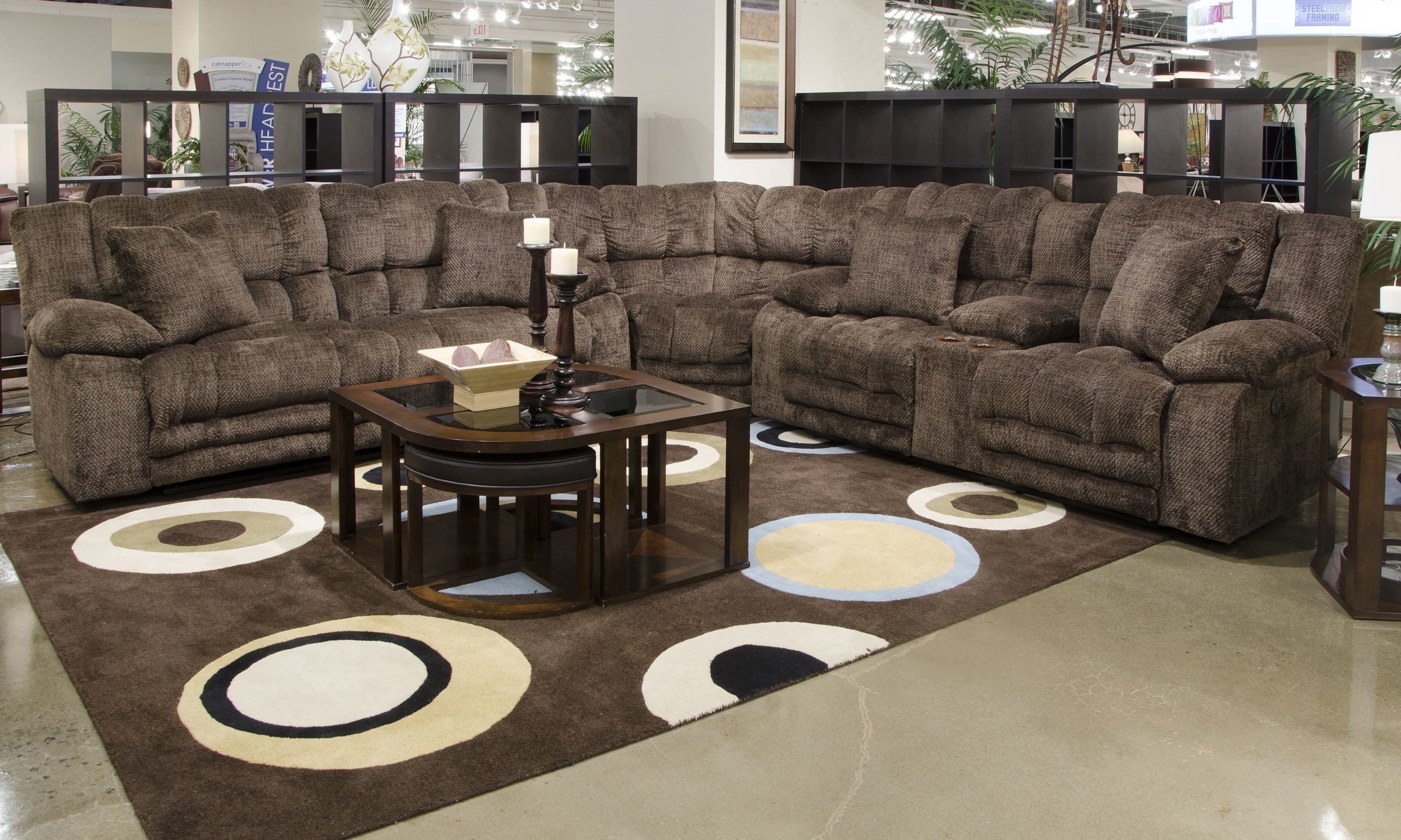 reclining sofa manufacturers usa mayfair and chaise slipcover branson chocolate lay flat sectional from ...