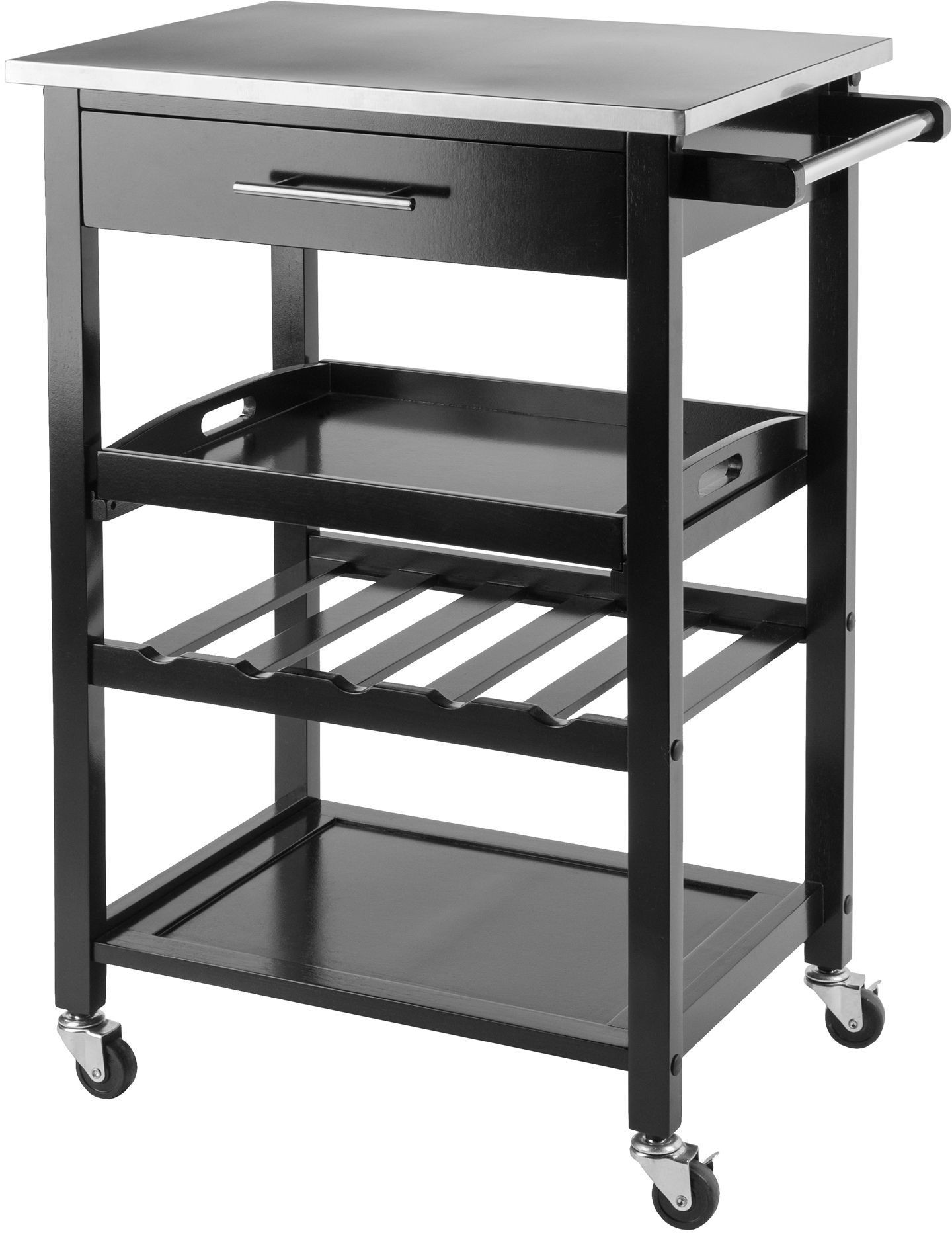 stainless steel kitchen cart colorful accessories anthony black from