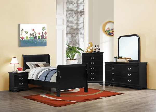 Louis Philippe Black Ii Youth Sleigh Bedroom Set Coaster Coleman Furniture
