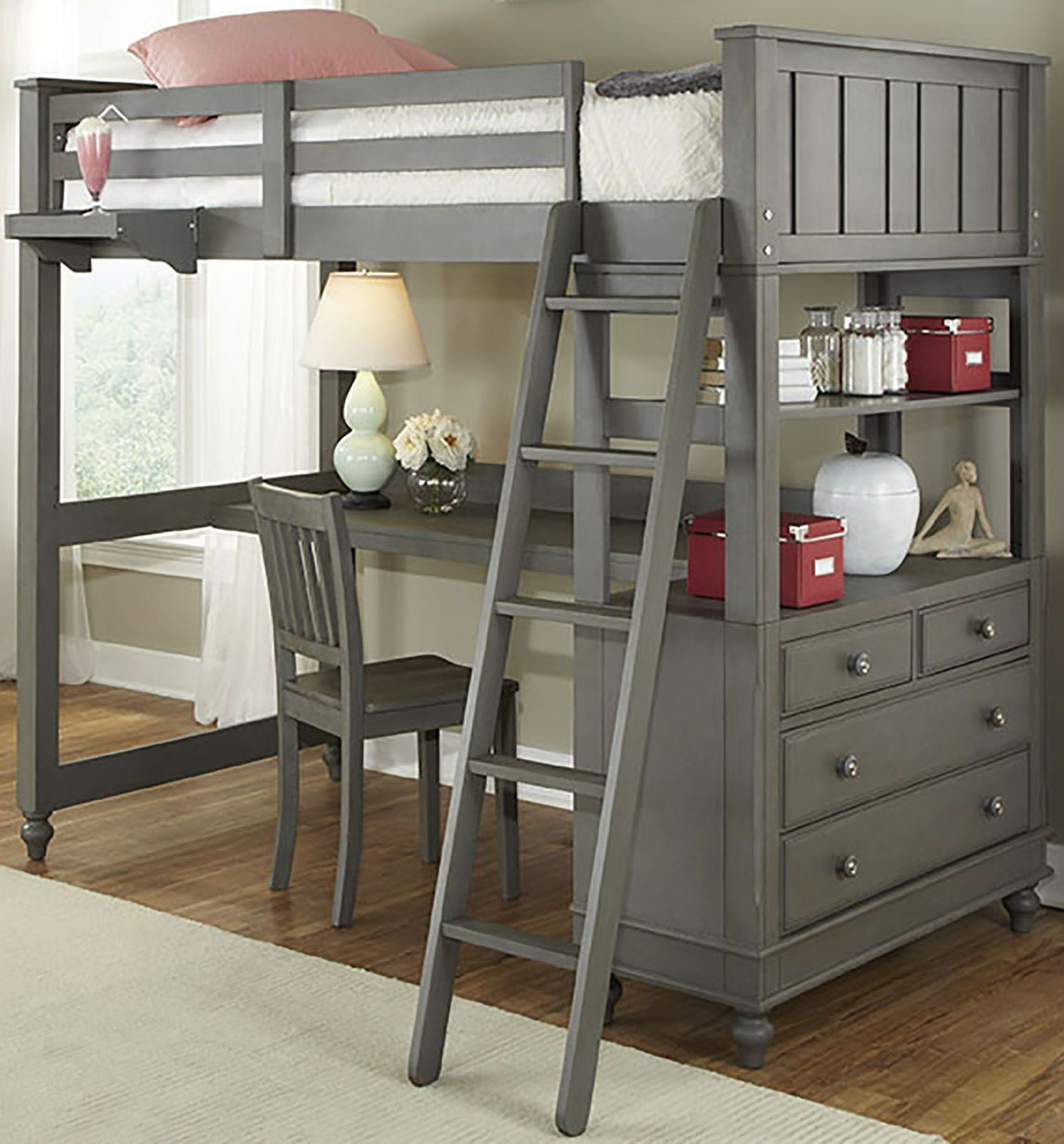 Lake House Stone Twin Loft Bed with Desk from NE Kids
