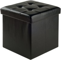 Ashford Black Upholstered Small Storage Ottoman from