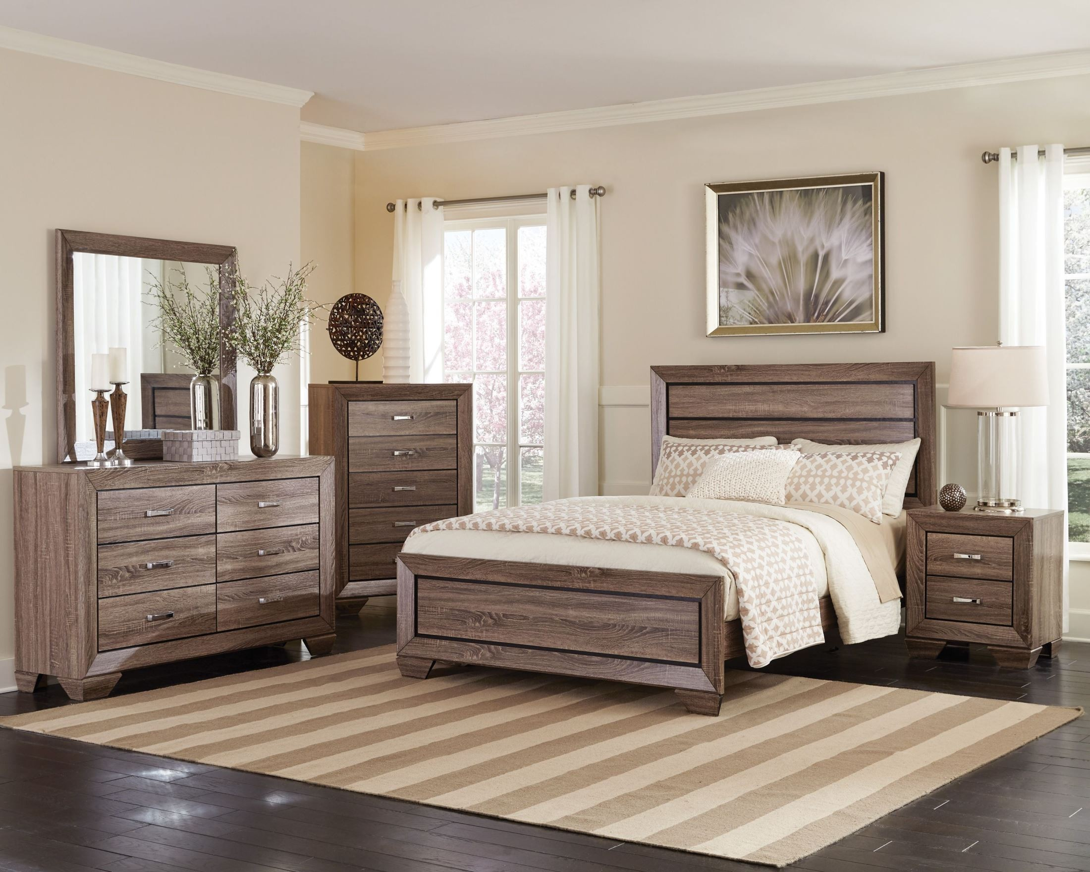 Kauffman Washed Taupe Panel Bedroom Set from Coaster 204191Q  Coleman Furniture