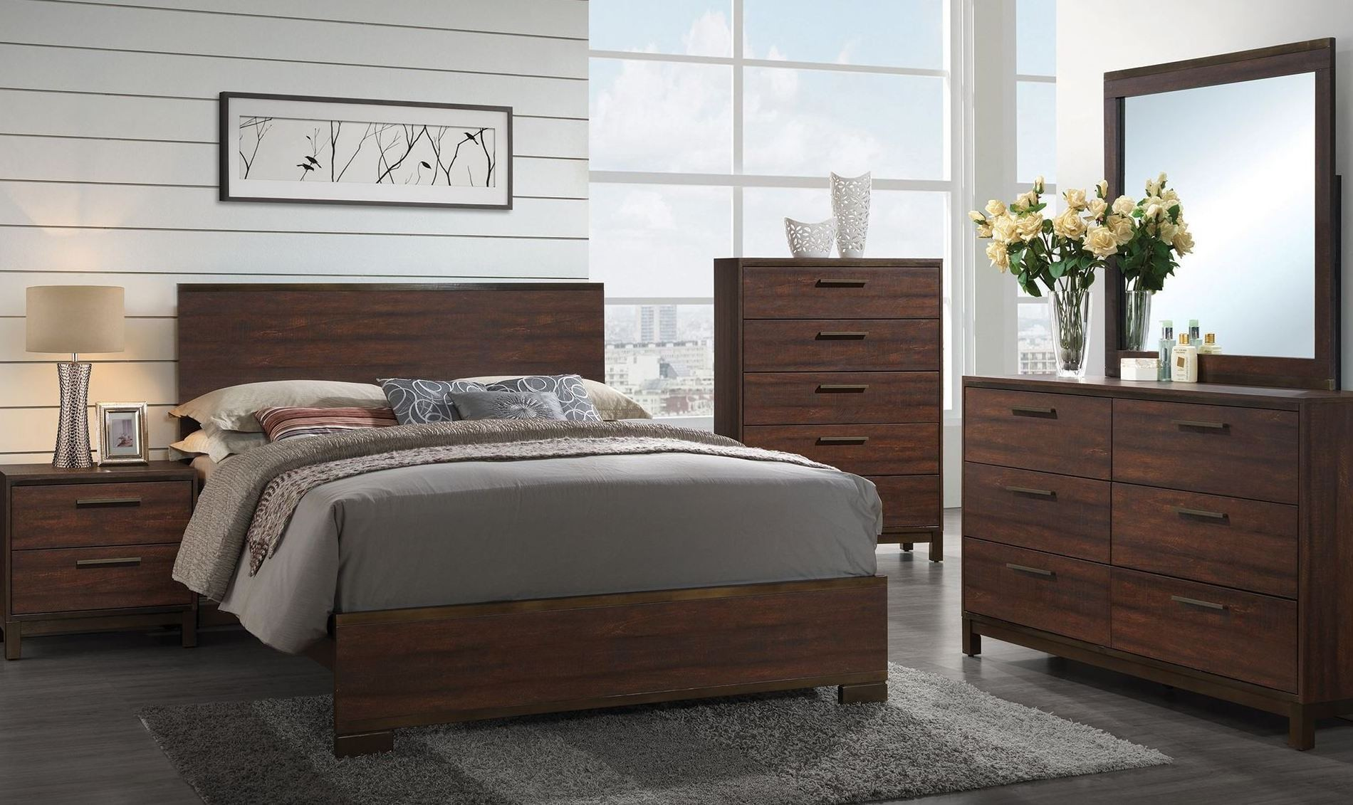 Edmonton Rustic Tobacco Platform Bedroom Set from Coaster