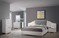 Alessandro Glossy White Platform Bedroom Set, 205001Q ...