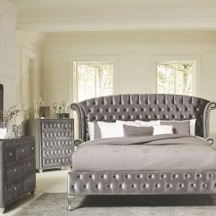 Grey Bedroom Chair Next Medical Stair Deanna King Upholstered Platform Bed From Coaster