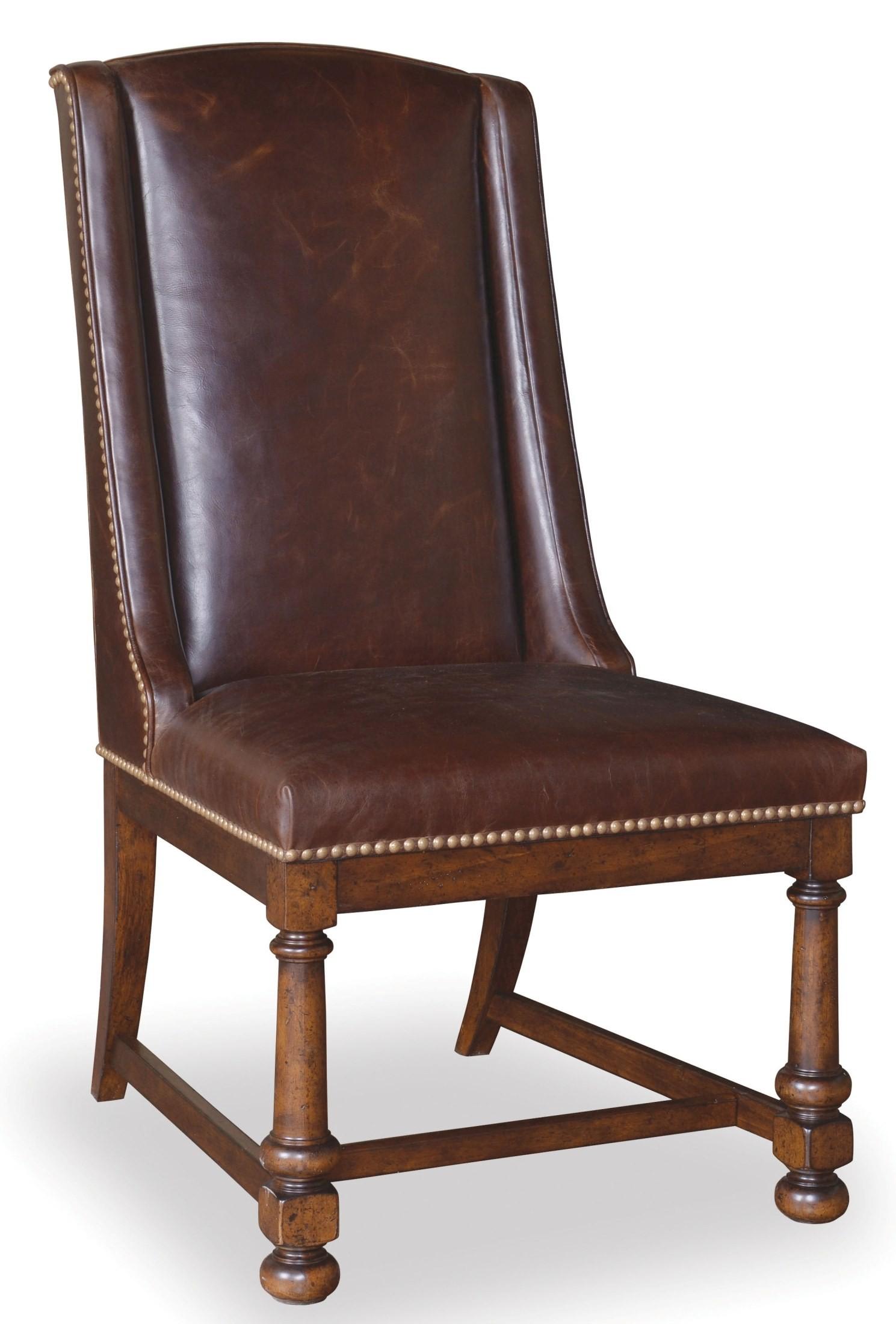 Whiskey Barrel Oak Leather Side Chair Set of 2 from ART