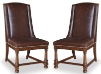 Whiskey Barrel Oak Leather Side Chair Set of 2 from ART ...