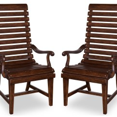 Barrel Dining Chairs Set Of 2 Papasan Chair Outdoor Whiskey Oak Slat Back Arm From Art
