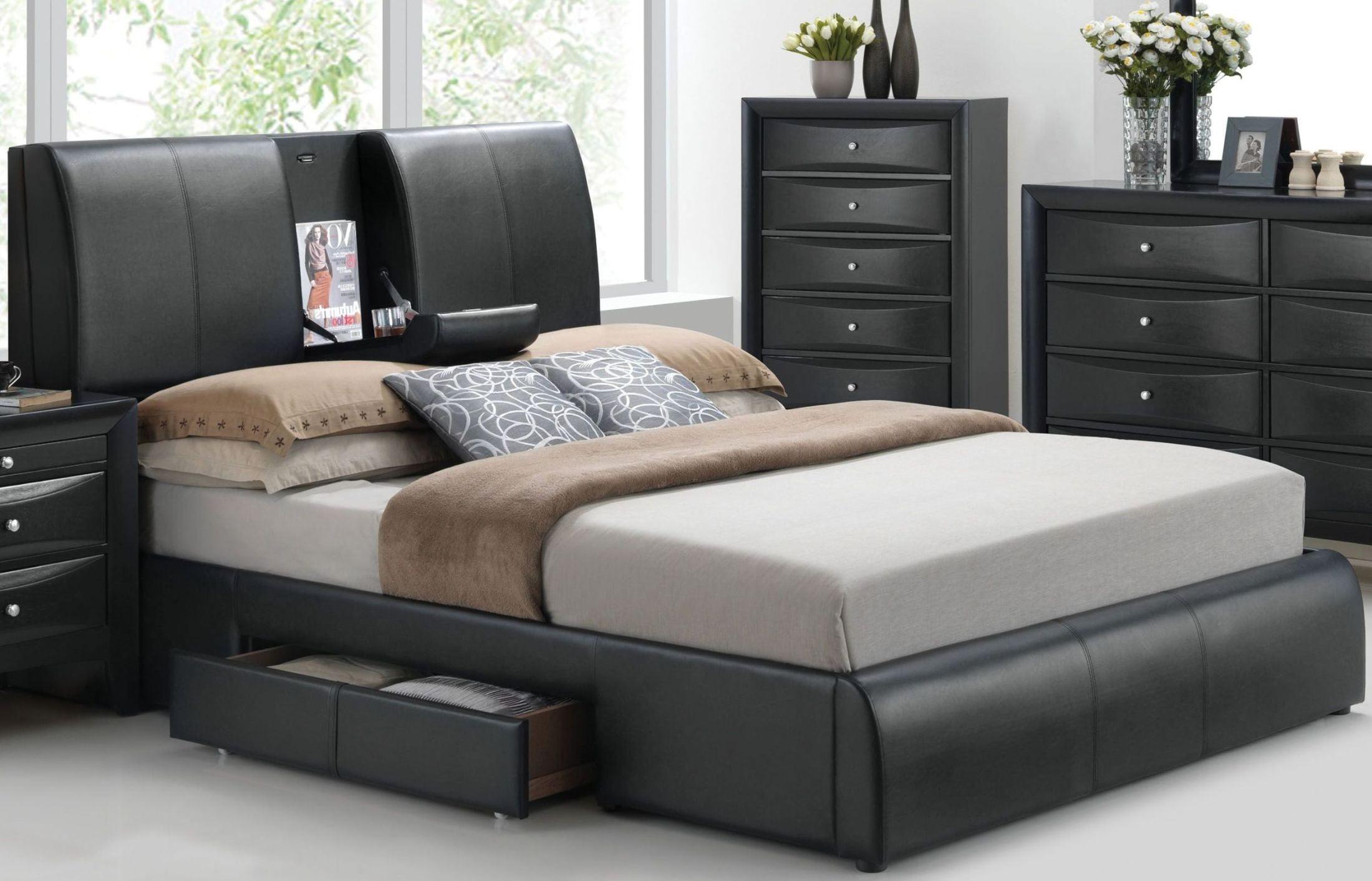 Kofi Black Queen Upholstered Platform Storage Bed from Acme  Coleman Furniture