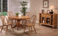 Missouri Rustic Oak Single Pedestal Dining Room Set from ...