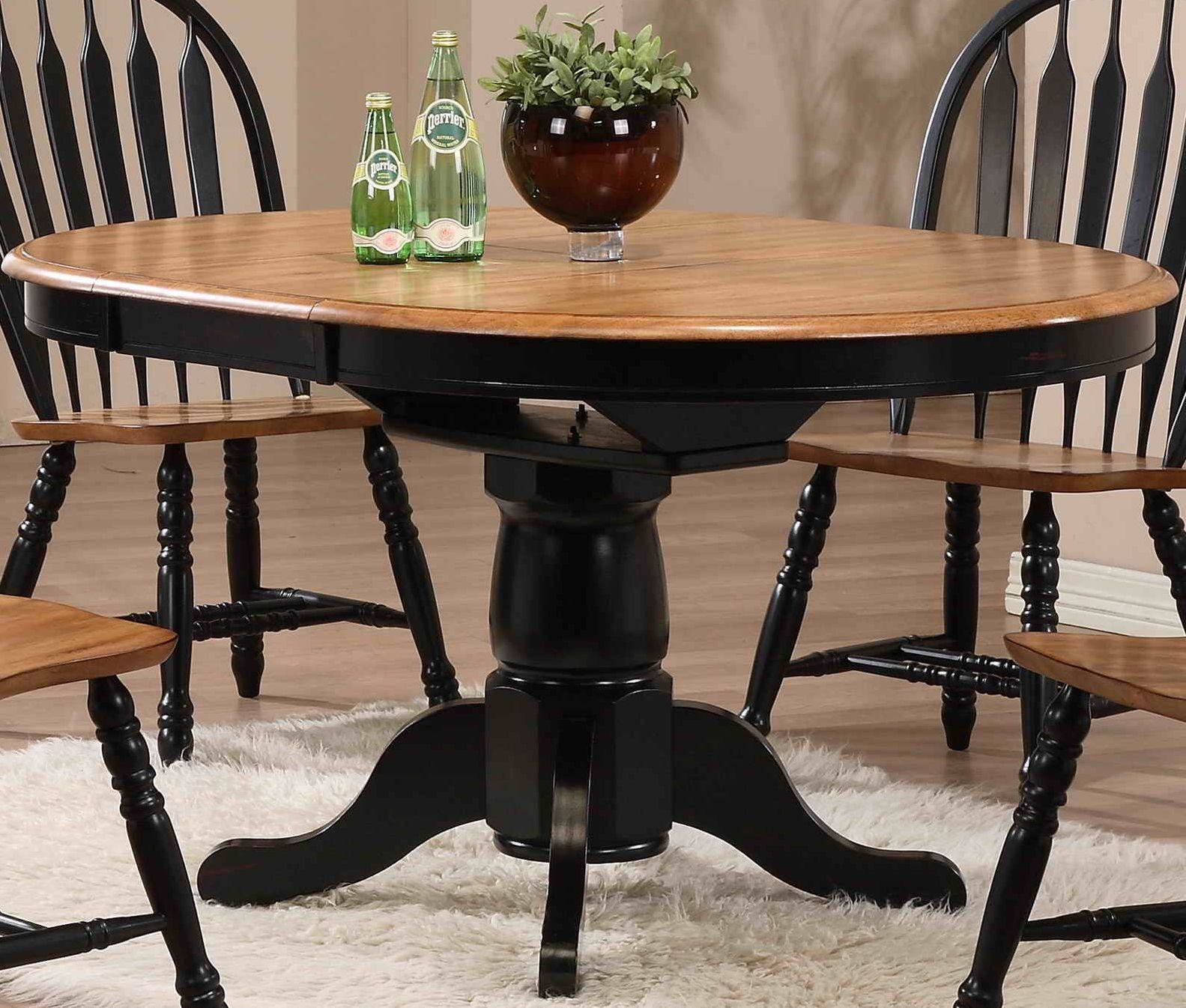 Missouri Black Single Pedestal Dining Table From Eci