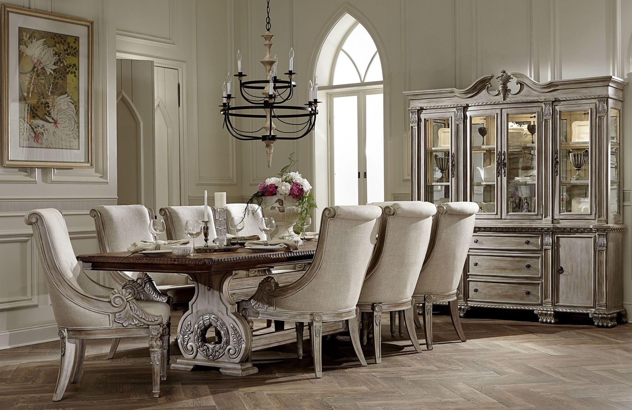 Best Kitchen Gallery: Orleans Ii White Wash Extendable Trestle Dining Room Set From of Dining Room Sets  on rachelxblog.com