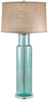 Recycled Glass Blue Cylinder Table Lamp, 216B, Lamp Works