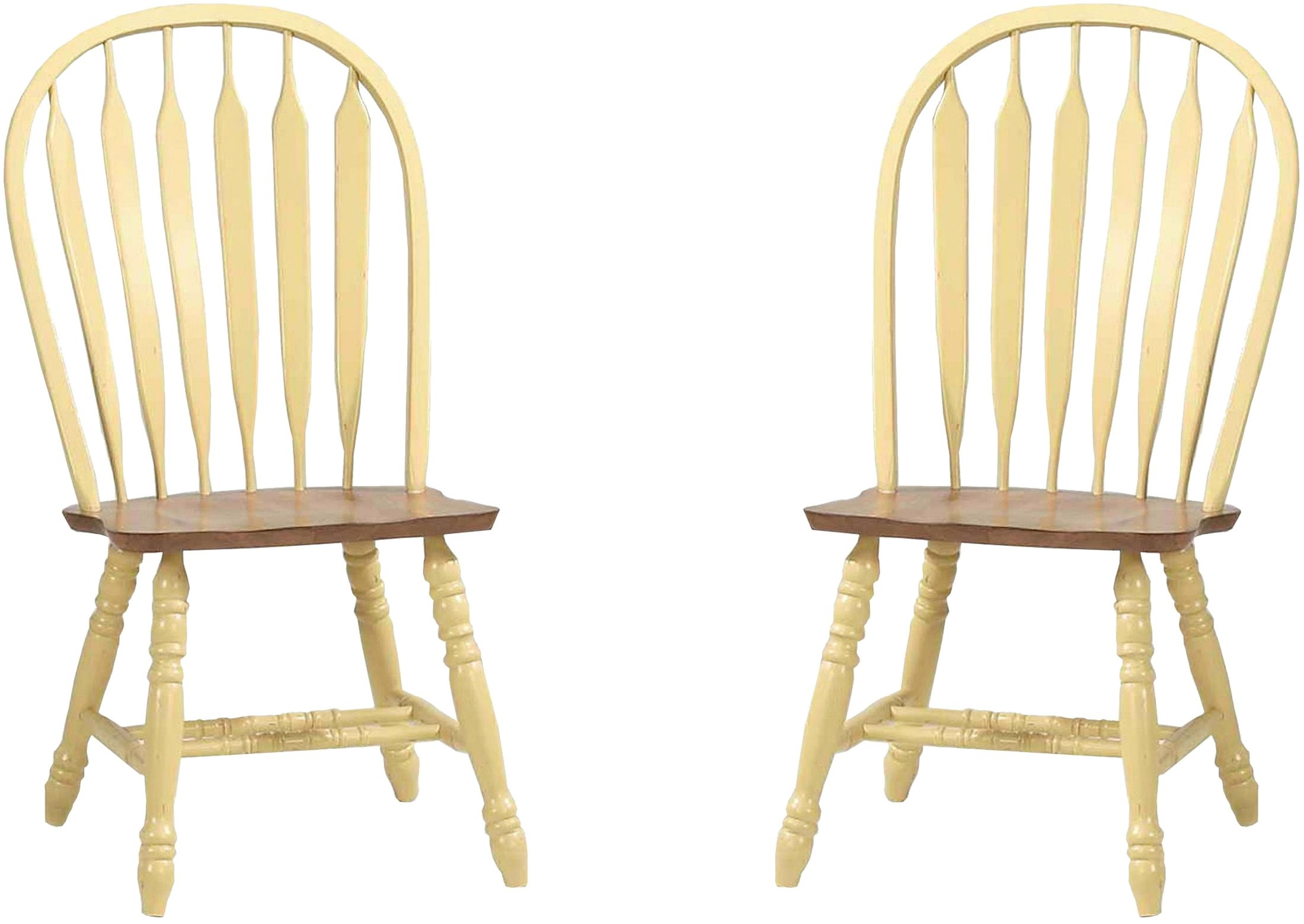 Yellow Side Chair Yellow Rustic Oak Bowback Side Chair Set Of 2 From Eci