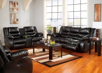 LineBacker DuraBlend Black Reclining Living Room Set from ...