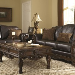 Leather Round Sofas Manufacturers Behind Sofa Table Storage North Shore Dark Brown Living Room Set From Ashley (22603 ...