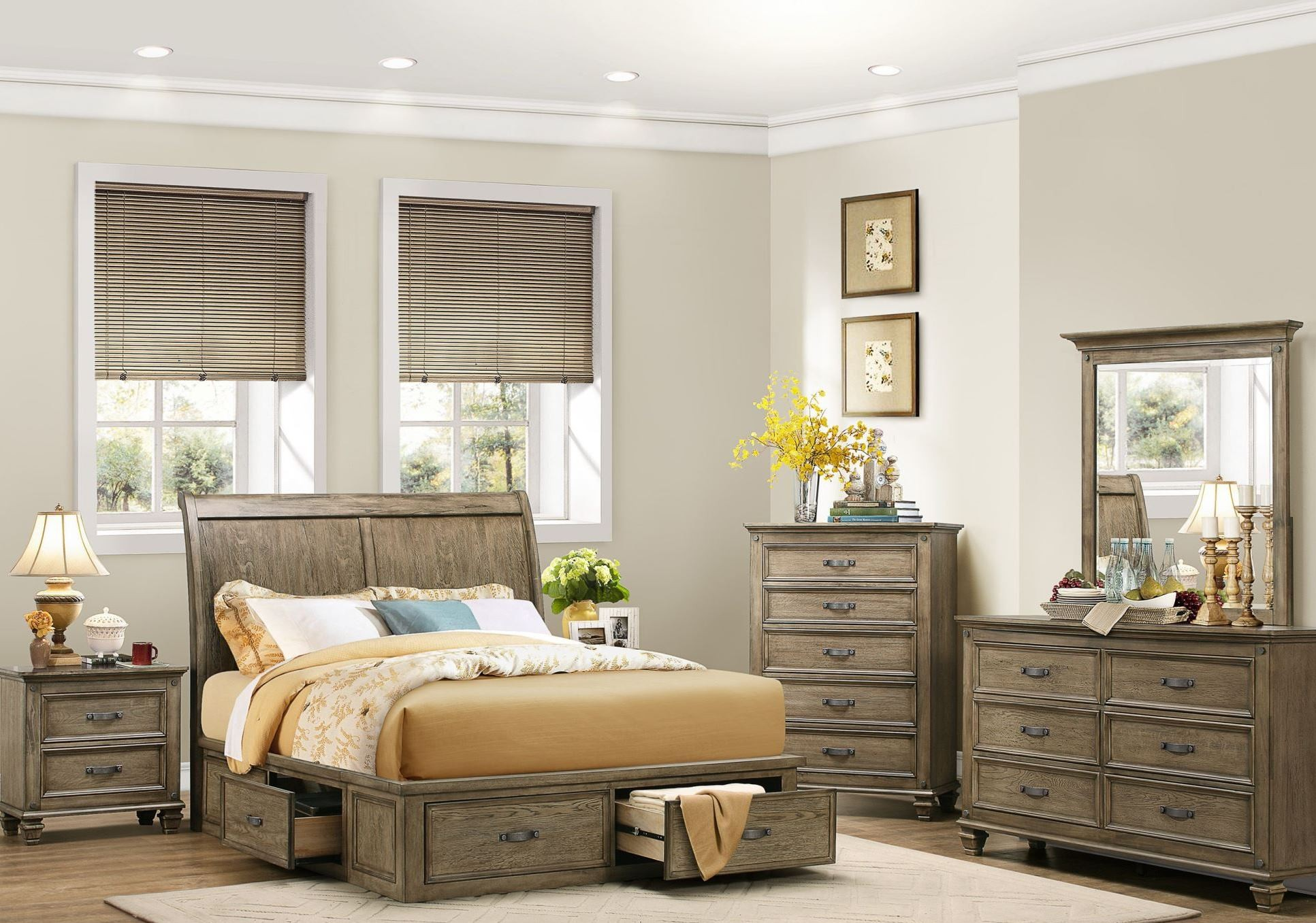 Sylvania Driftwood Platform Storage Bedroom Set from