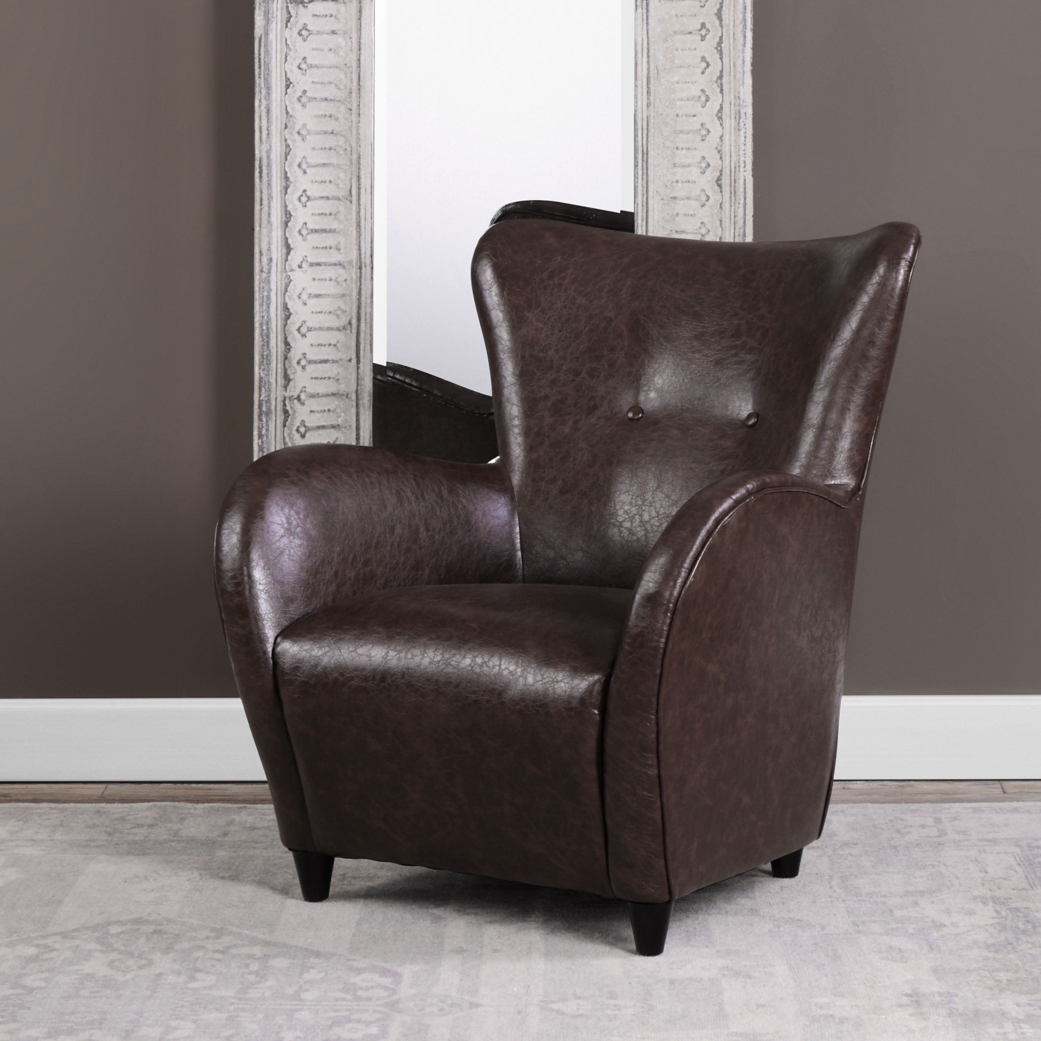 Lyric Brown Leather Accent Chair from Uttermost  Coleman