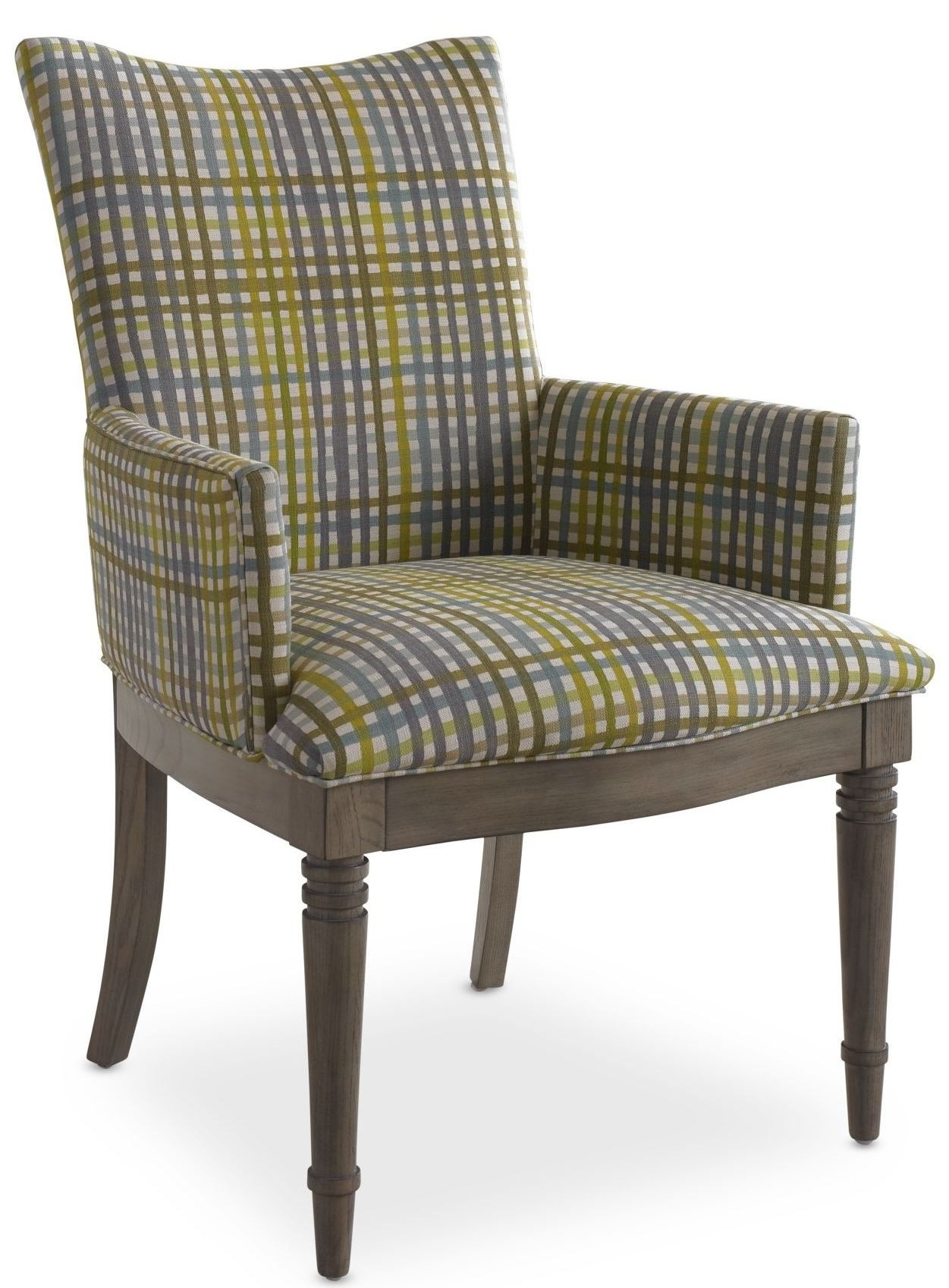 Plaid Chair Open Seating Grey Oak Kate Plaid Arm Chair From Somerton
