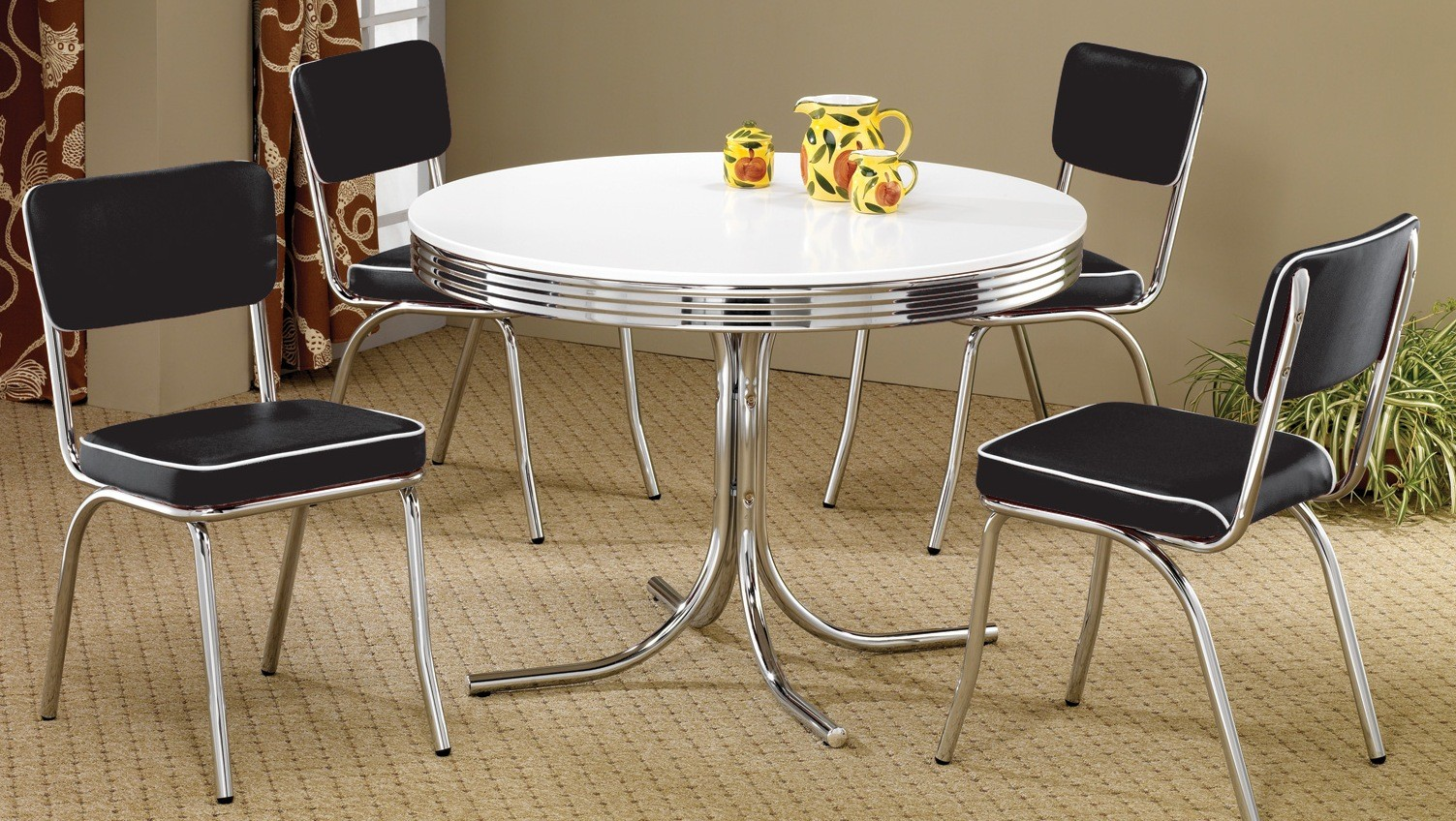 retro dining room chairs chair cover new york brooklyn ny 2388 chrome round set from coaster
