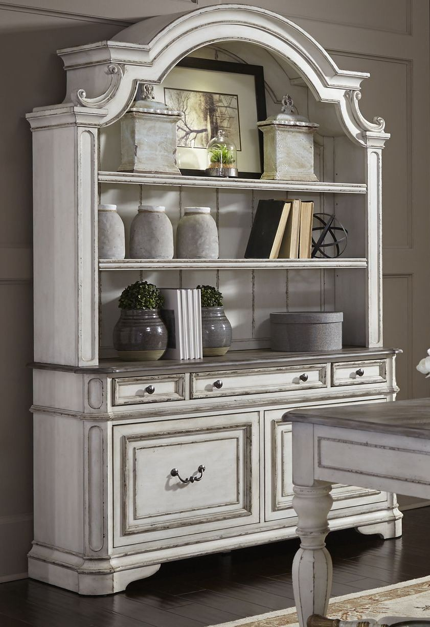 Magnolia Manor Antique White Credenza With Hutch From