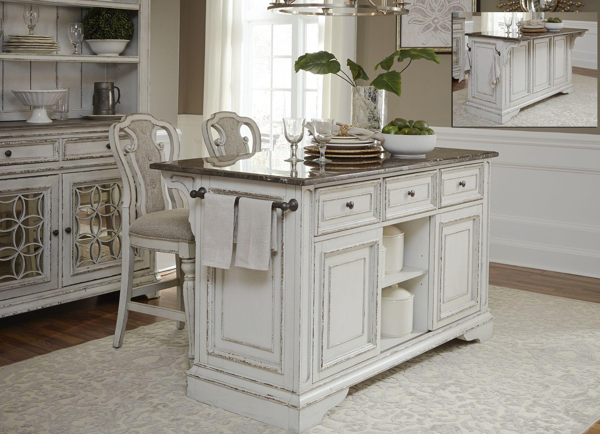 Magnolia Manor Antique White Kitchen Island Set from