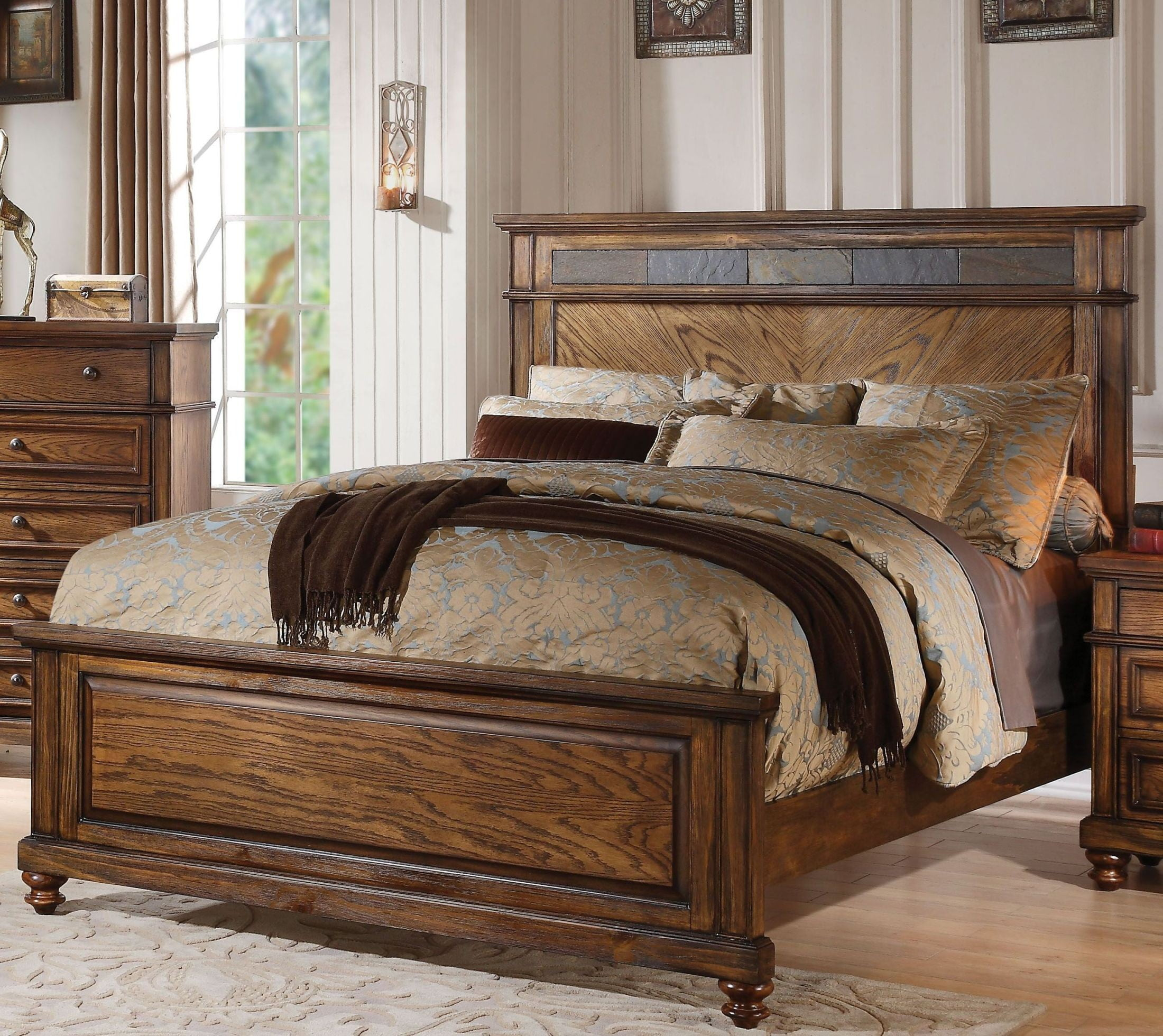 Arielle Oak King Panel Bed From Acme