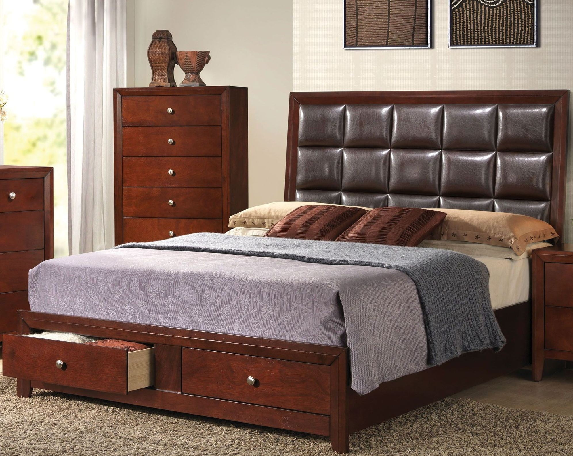 Ilana Brown Cherry King Upholstered Platform Storage Bed