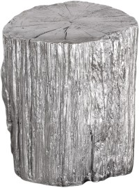 Cambium Silver Tree Stump Stool, 24663, Uttermost