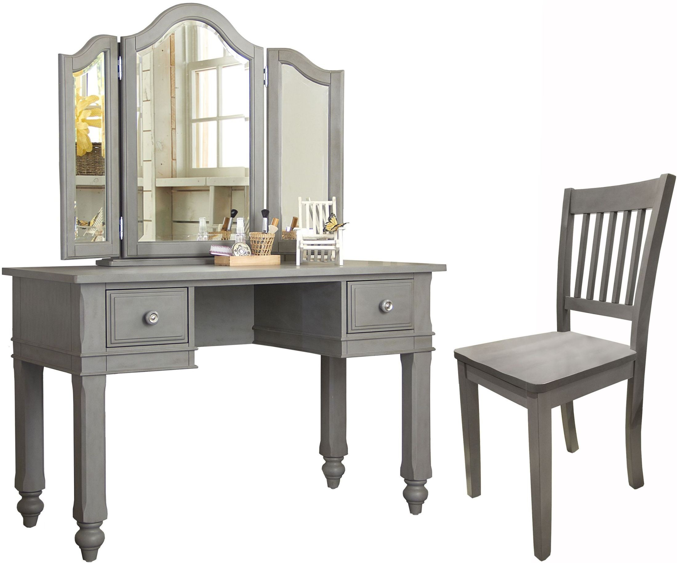 vanity with chair and mirror booster seat for 4 year old lake house stone writing desk