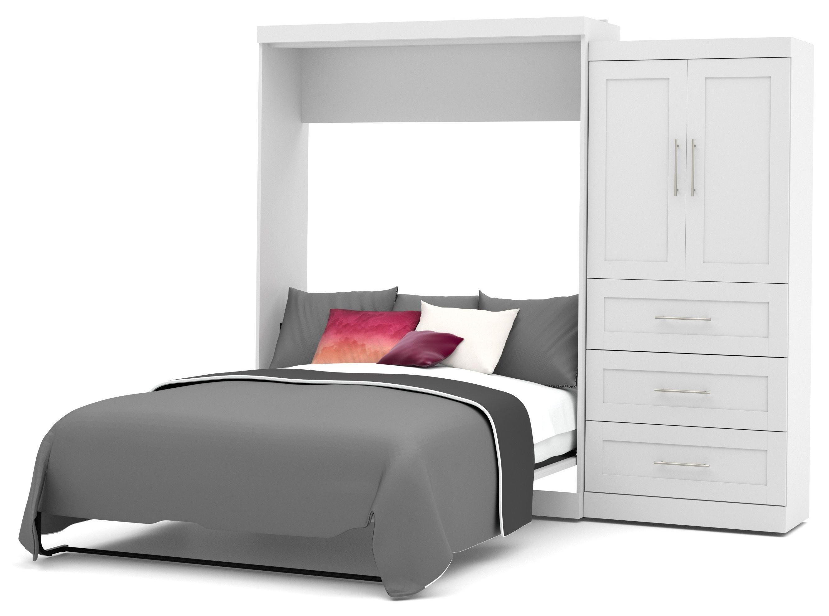 Pur White 101quot Queen Wall Storage Bed From Bestar 26887