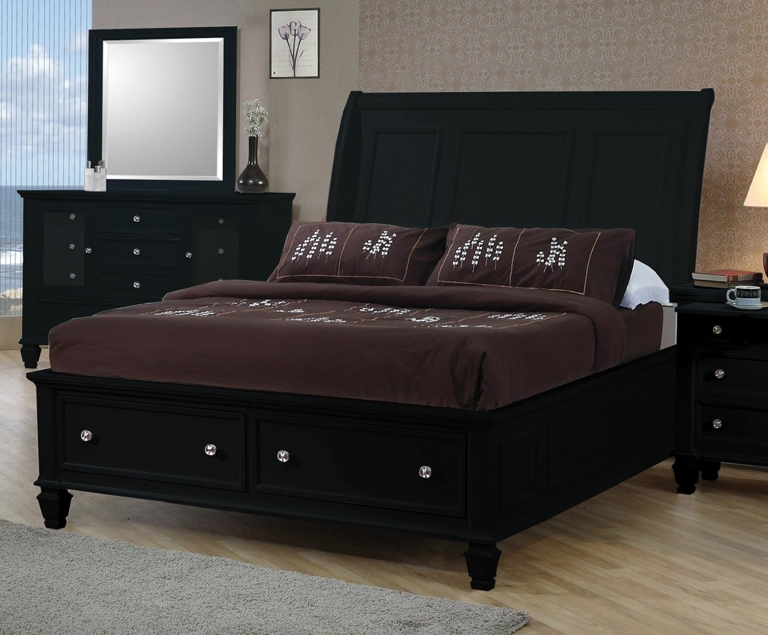 Sandy Beach Black King Sleigh Storage Bed From Coaster