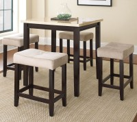 Aberdeen Faux marble 5 Piece Counter Height Dining Set ...