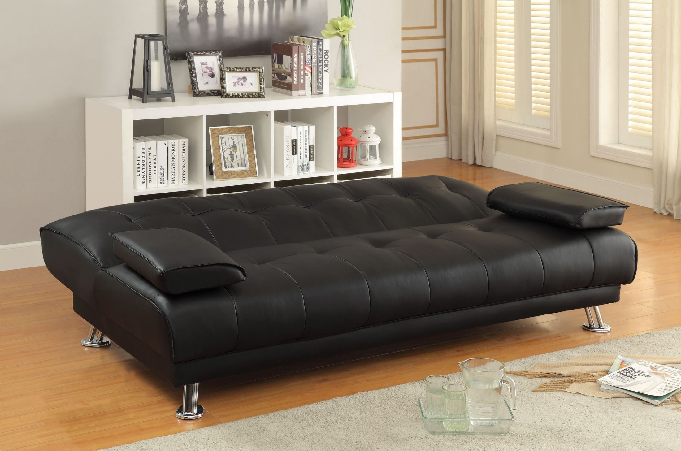 coaster futon sofa bed with removable armrests review cinema a london braxton black from 300205 coleman