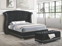 Barzini Black Upholstered King Upholstered Platform Bed ...