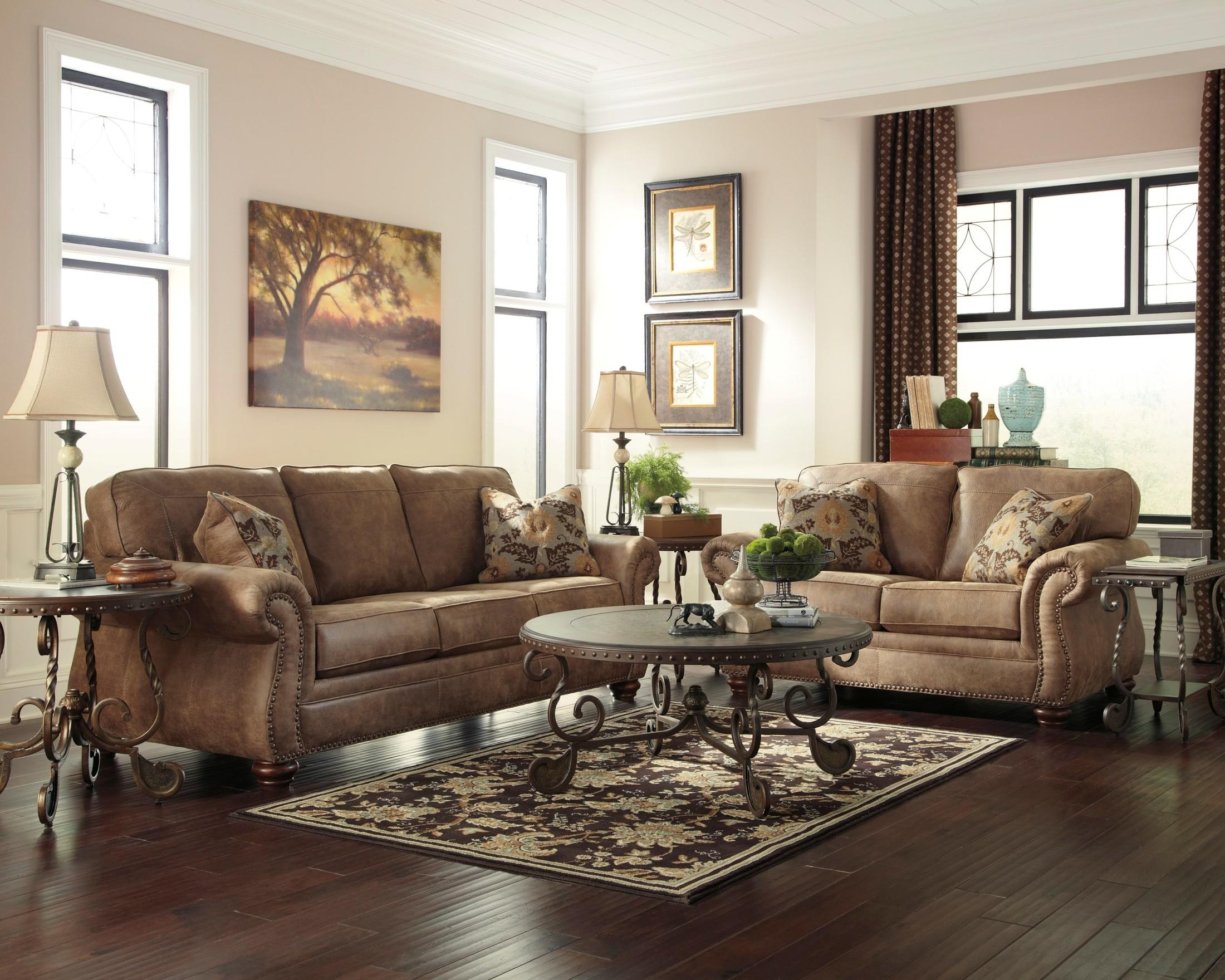 modern living room setup white table larkinhurst earth set from ashley (31901-38-35 ...