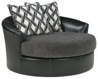 Kumasi Smoke Oversized Swivel Accent Chair, 3220221, Ashley