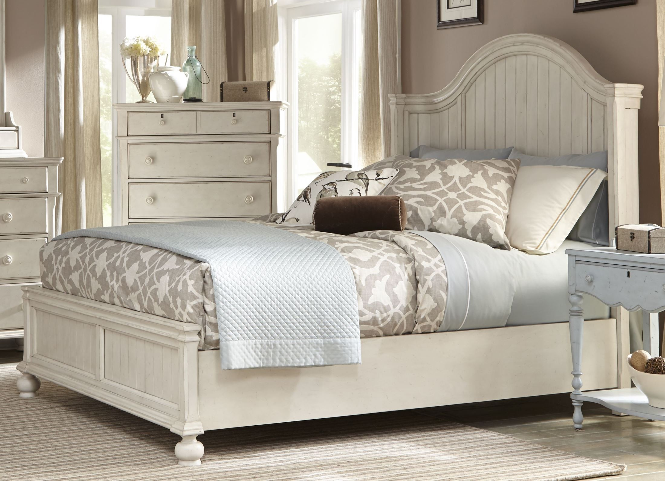 Newport Antique White King Panel Bed From American