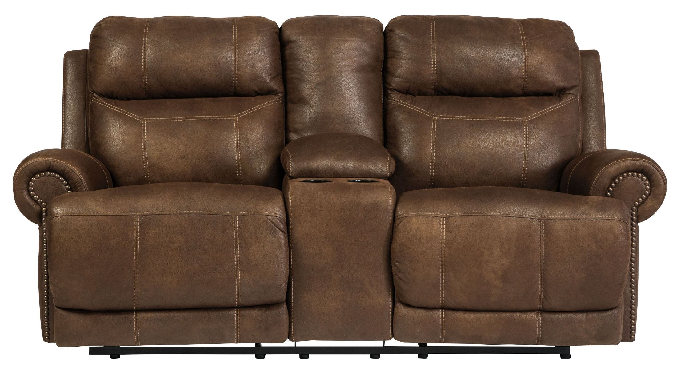 Austere Brown Double Reclining Loveseat with Console from