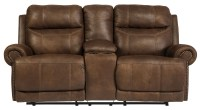 Austere Brown Double Reclining Loveseat with Console from ...