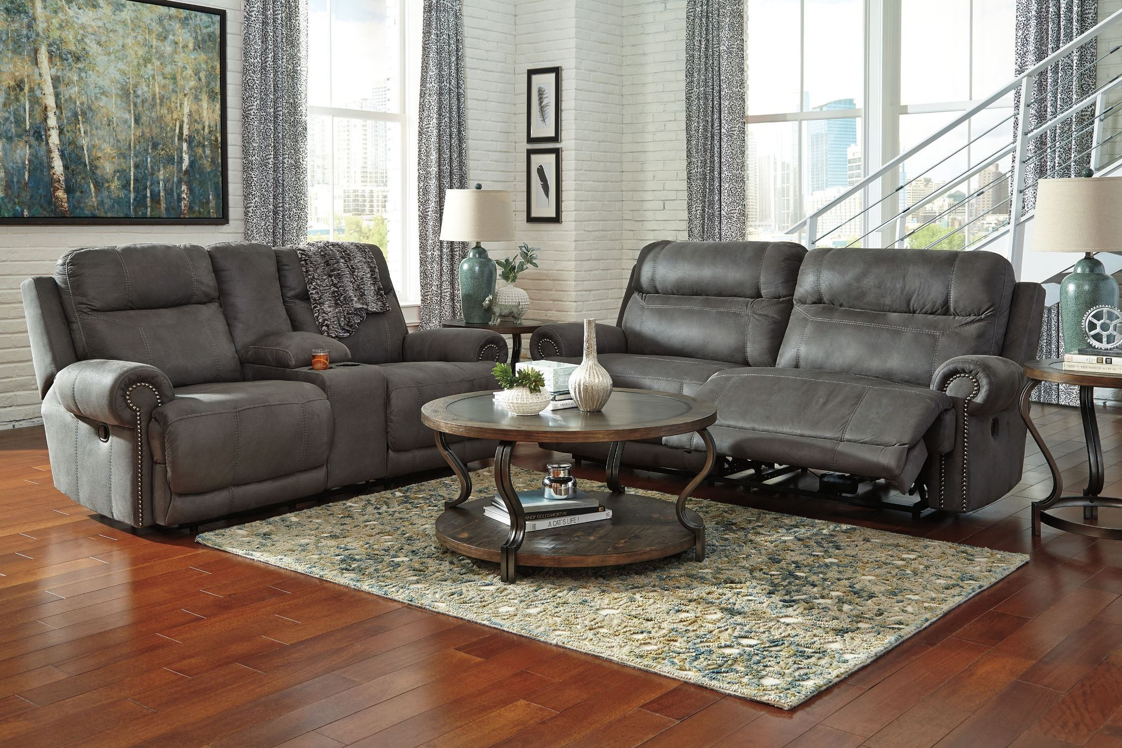 Austere Gray Power Reclining Living Room Set from Ashley