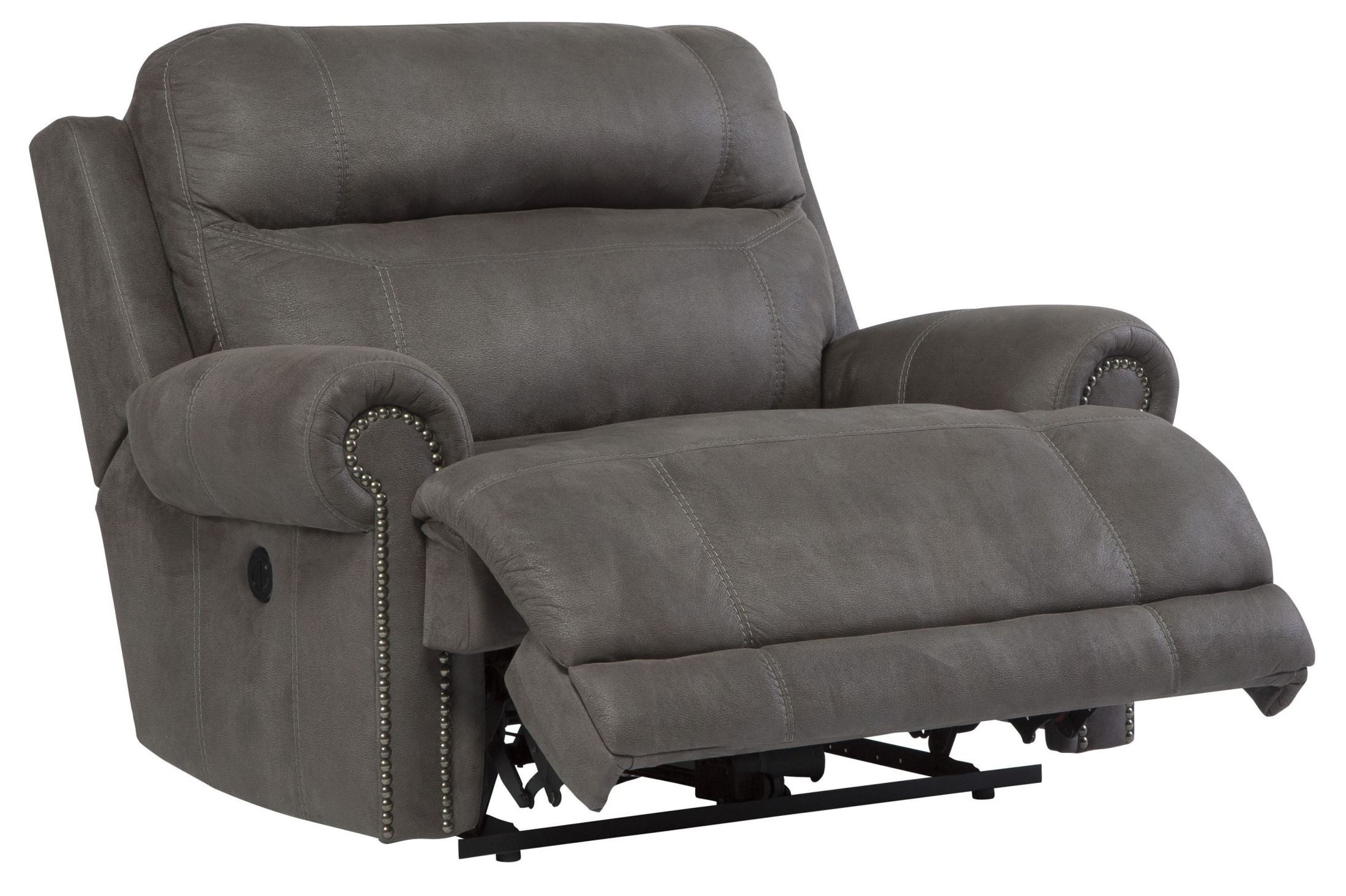 Gray Recliner Chair Austere Gray Zero Wall Wide Seat Power Recliner From