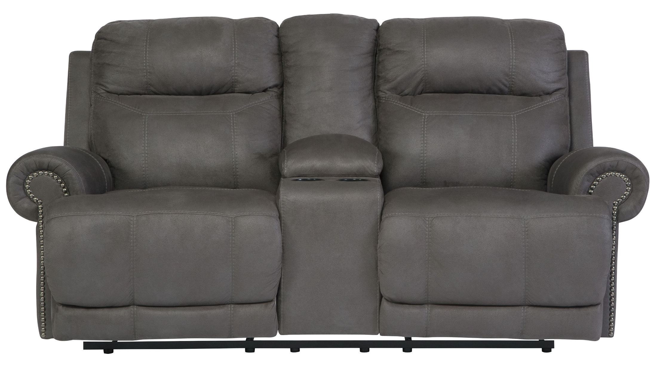 grey power reclining sofa 2 seater bed and matching chair austere gray double loveseat with console