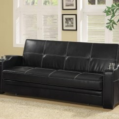 Faux Leather Sofa Bed With Storage Sectional Atlanta And Cup Holders From