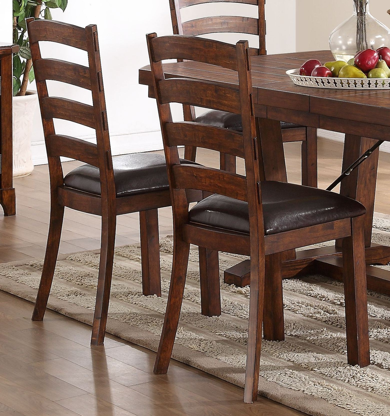 distressed dining chairs twin sleeper chair leather lanesboro walnut set of 2 from new