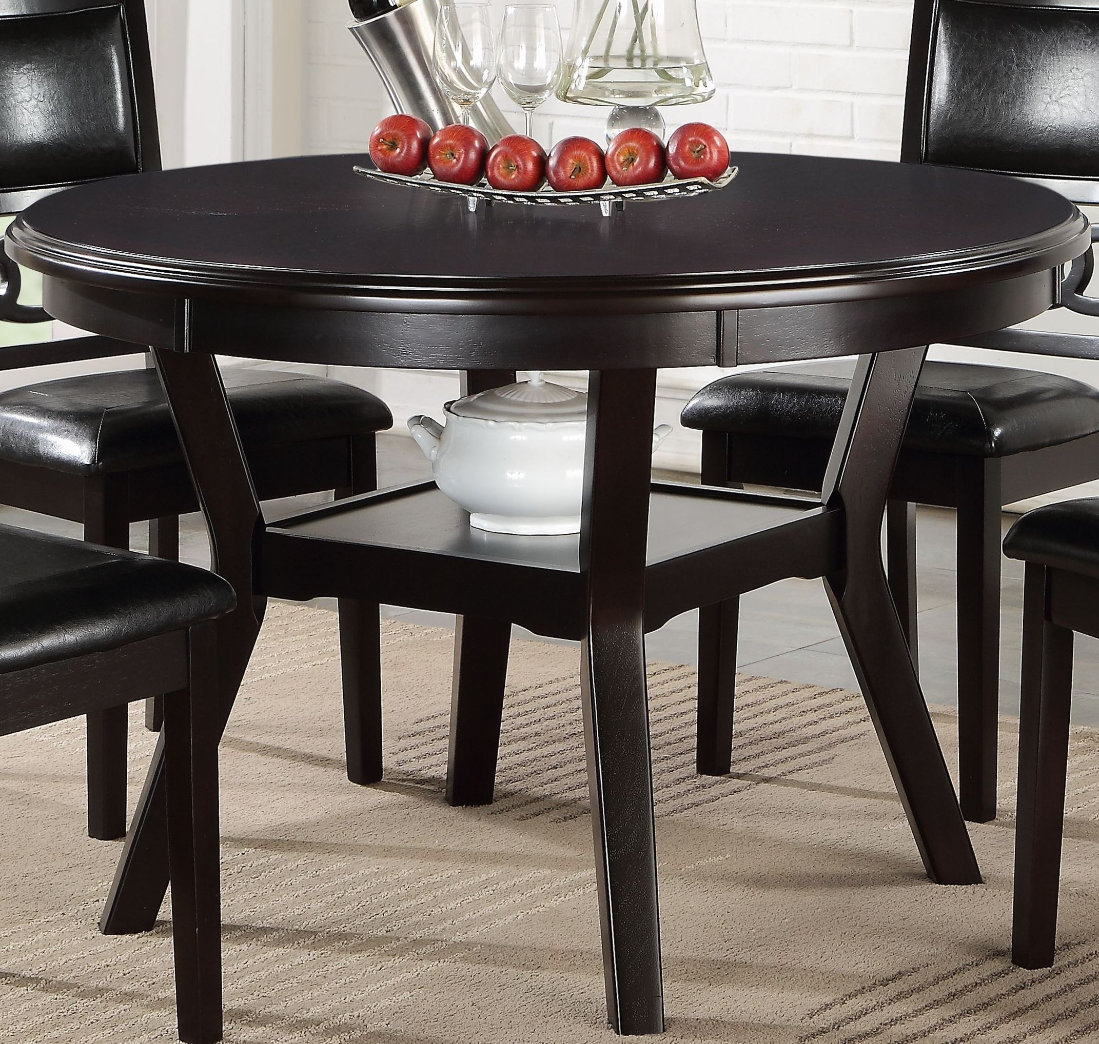 50s Table And Chairs 5 Pcs Gia Ebony Round Dining Table Set D1701 50s Ebo New